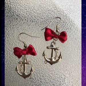Red ribbon nautical anchor earrings